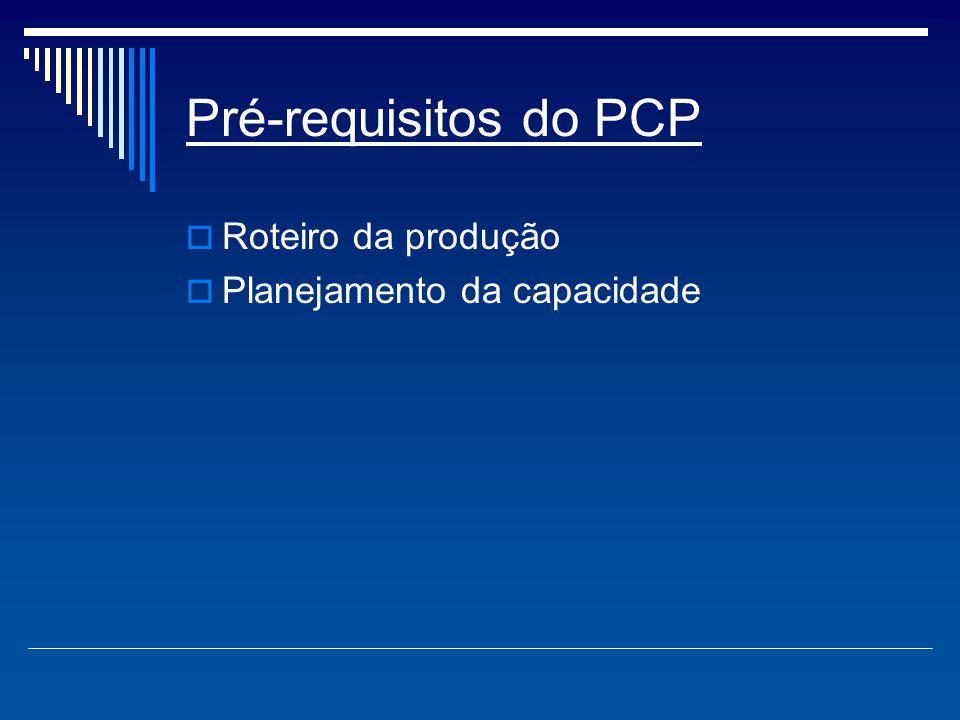 Funções do PCP  Gestão de estoques (abastecimento de matéria prima);  Emissão de ordens de produção (providencias para ter andamento todos os itens necessários ao programa);  Programação de ordens (verificação de viabilidade do atendimento das ordens de fabricação);  Movimentação das ordens de fabricação (Informações do que foi fabricado);  Acompanhamento da produção (Correções entre produtos defeituosos).