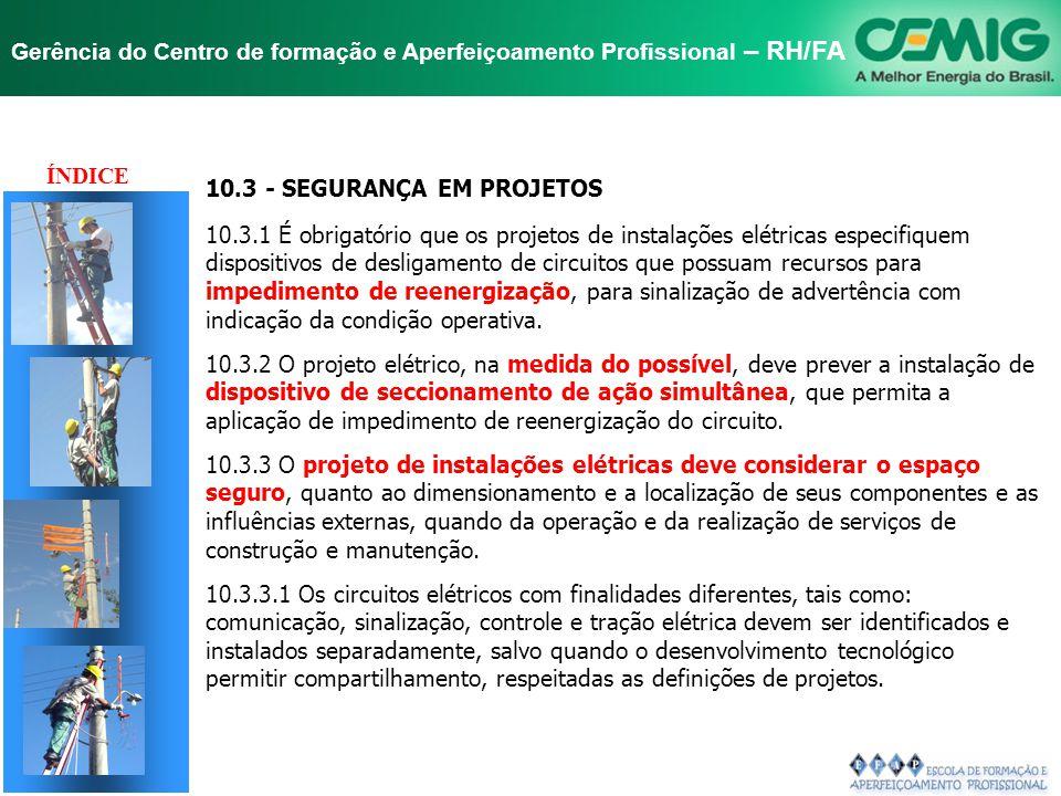 NR-10 SEGURANÇA EM INSTALAÇÕES E SERVIÇOS EM ELETRICIDADE Gerência do Centro de formação e Aperfeiçoamento Profissional – RH/FA 10.2.9.3 É vedado o us