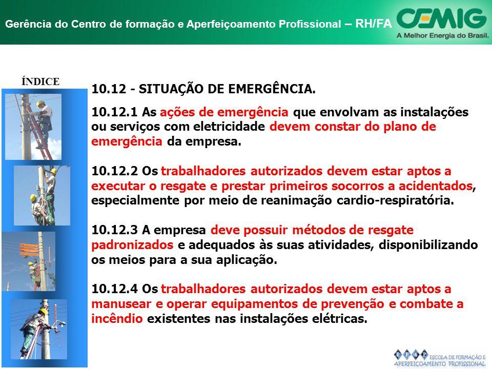 NR-10 SEGURANÇA EM INSTALAÇÕES E SERVIÇOS EM ELETRICIDADE Gerência do Centro de formação e Aperfeiçoamento Profissional – RH/FA TÍTULO 10.11 - PROCEDI