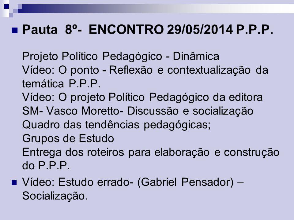 Pauta 8º- ENCONTRO 29/05/2014 P.P.P. Projeto Político Pedagógico - Dinâmica Vídeo: O ponto - Reflexão e contextualização da temática P.P.P. Vídeo: O p