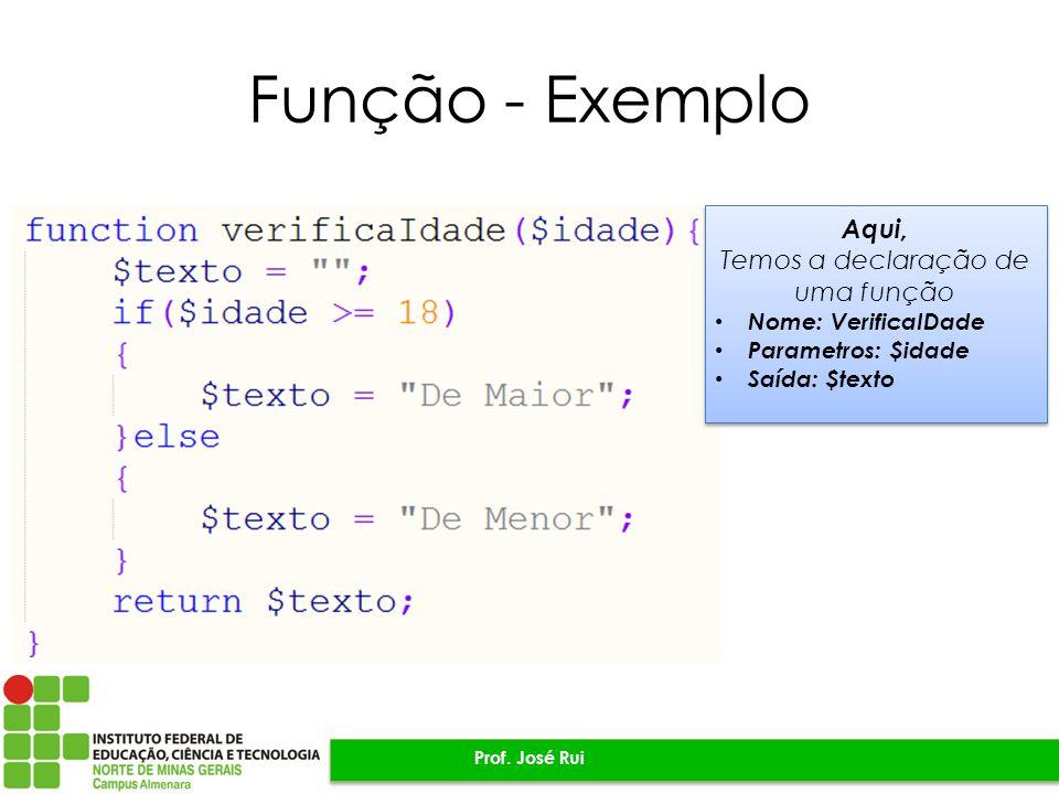 Função - Exemplo Prof.