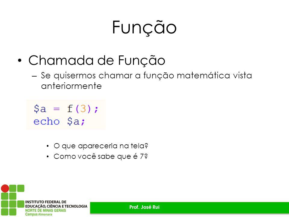 Função Chamada de Função – Se quisermos chamar a função matemática vista anteriormente O que apareceria na tela.