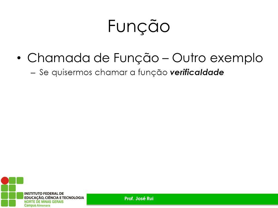Função Chamada de Função – Outro exemplo – Se quisermos chamar a função verificaIdade Prof.