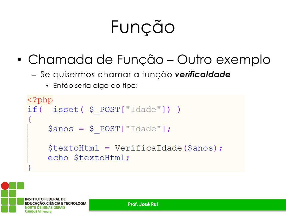 Função Chamada de Função – Outro exemplo – Se quisermos chamar a função verificaIdade Então seria algo do tipo: Prof.