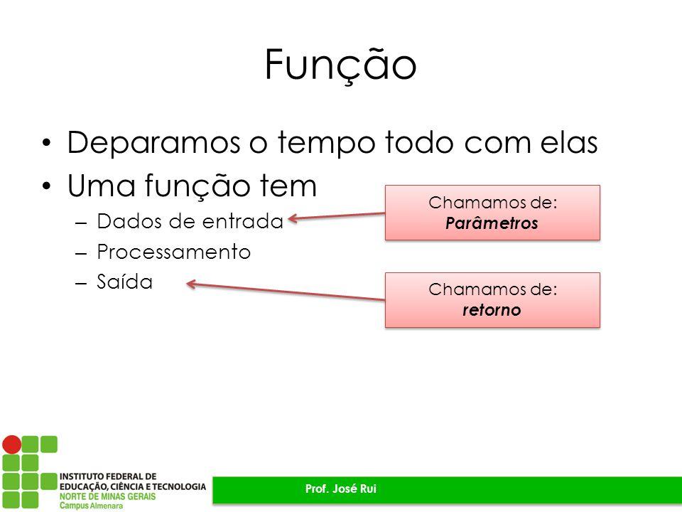 Função Deparamos o tempo todo com elas Uma função tem – Dados de entrada – Processamento – Saída Prof.
