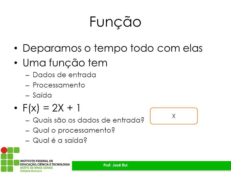 Função Deparamos o tempo todo com elas Uma função tem – Dados de entrada – Processamento – Saída F(x) = 2X + 1 – Quais são os dados de entrada.