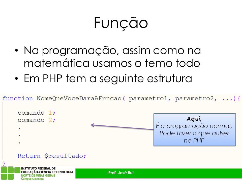 Função Na programação, assim como na matemática usamos o temo todo Em PHP tem a seguinte estrutura Prof.