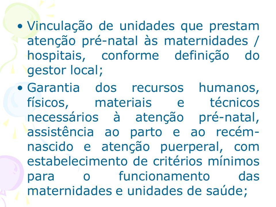 Vinculação de unidades que prestam atenção pré-natal às maternidades / hospitais, conforme definição do gestor local; Garantia dos recursos humanos, f