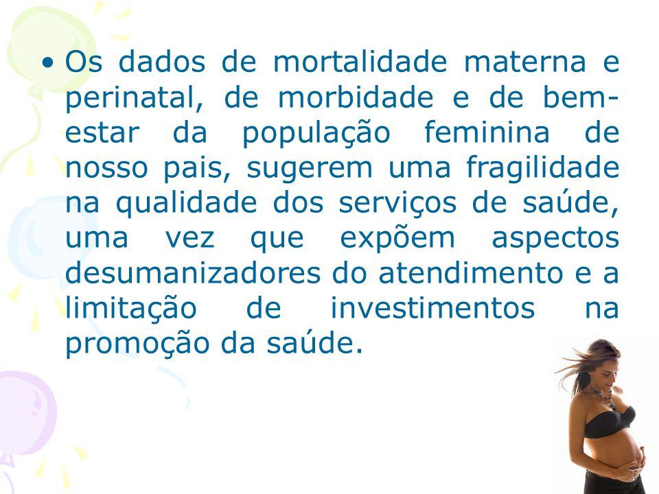 Os dados de mortalidade materna e perinatal, de morbidade e de bem- estar da população feminina de nosso pais, sugerem uma fragilidade na qualidade do