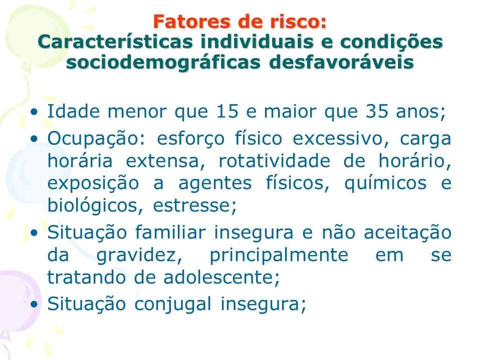 Fatores de risco: Características individuais e condições sociodemográficas desfavoráveis Idade menor que 15 e maior que 35 anos; Ocupação: esforço fí