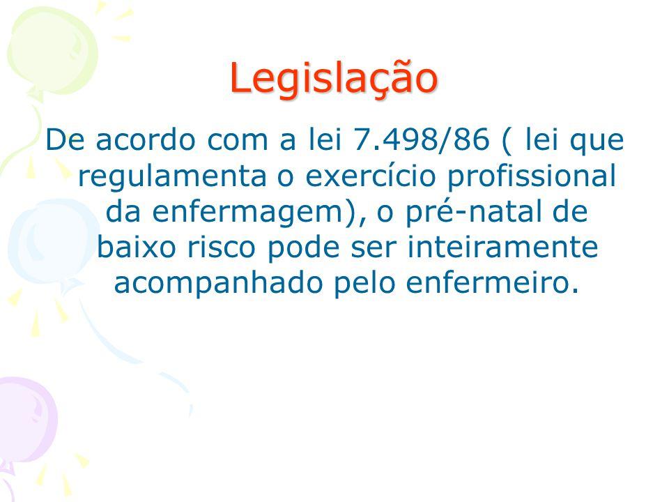 Legislação De acordo com a lei 7.498/86 ( lei que regulamenta o exercício profissional da enfermagem), o pré-natal de baixo risco pode ser inteirament