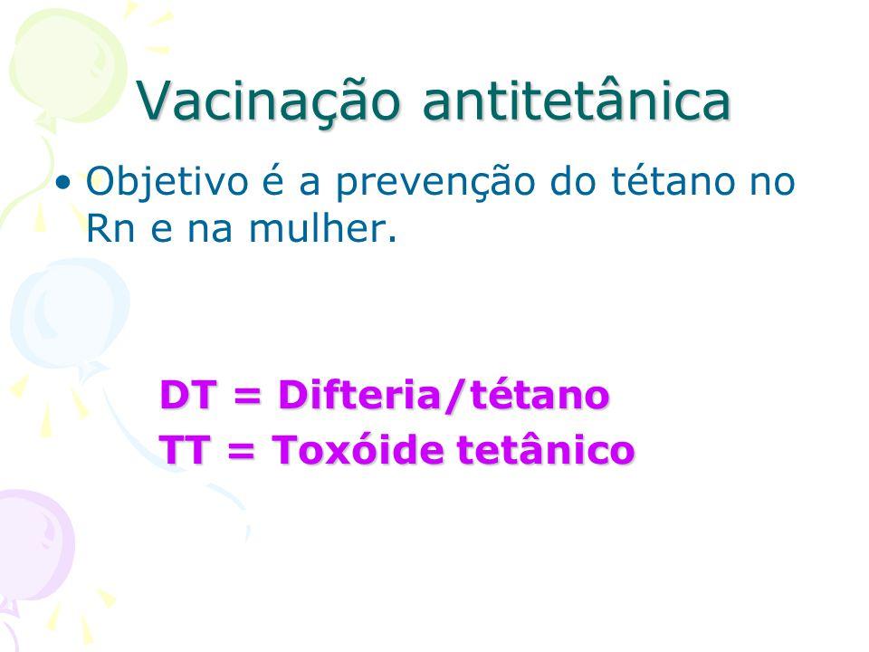 Vacinação antitetânica Objetivo é a prevenção do tétano no Rn e na mulher. DT = Difteria/tétano DT = Difteria/tétano TT = Toxóide tetânico TT = Toxóid