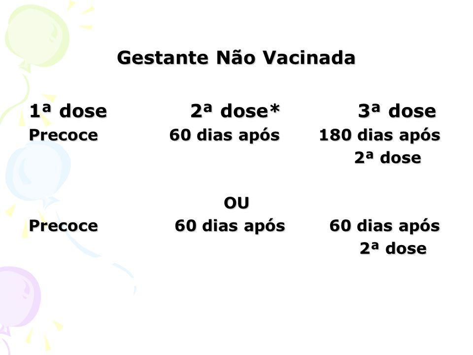 Gestante Não Vacinada 1ª dose 2ª dose* 3ª dose Precoce 60 dias após 180 dias após 2ª dose 2ª doseOU Precoce 60 dias após 60 dias após 2ª dose 2ª dose