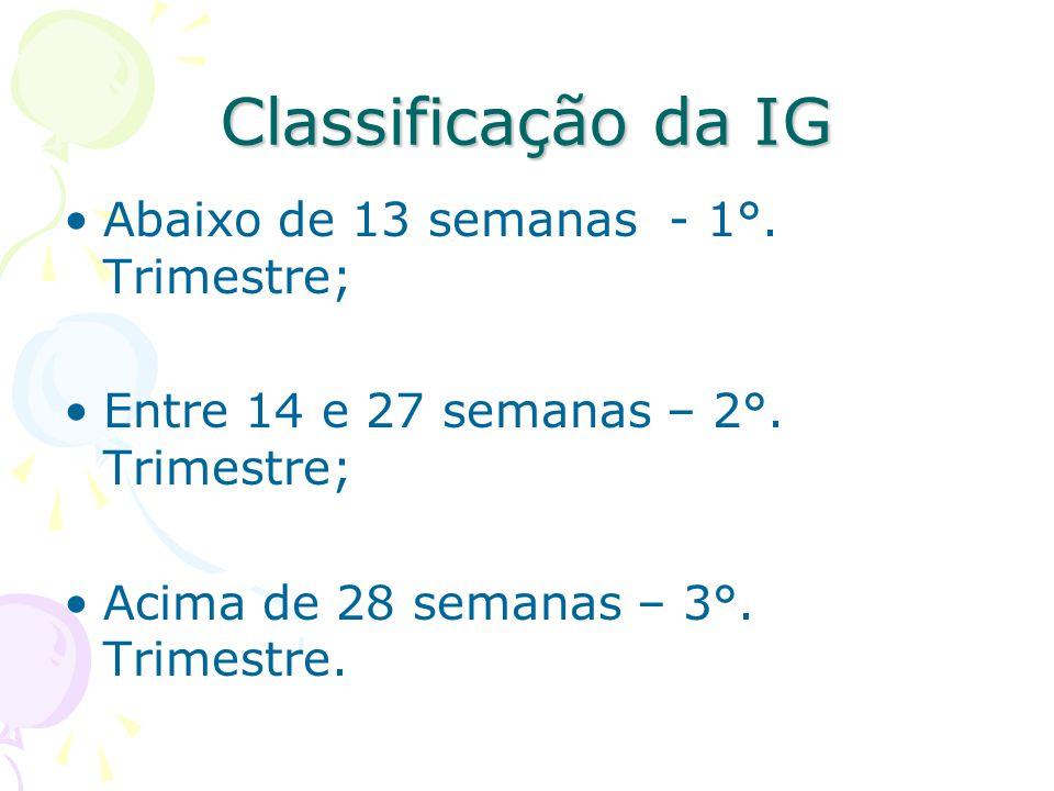 Classificação da IG Abaixo de 13 semanas - 1°. Trimestre; Entre 14 e 27 semanas – 2°. Trimestre; Acima de 28 semanas – 3°. Trimestre.