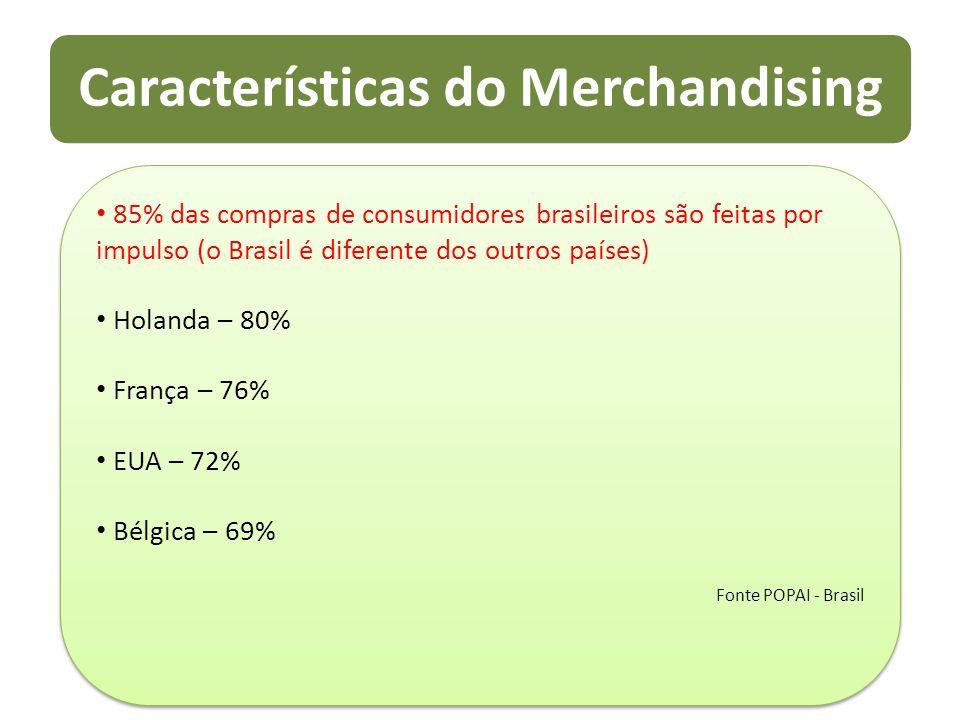 Características do Merchandising 85% das compras de consumidores brasileiros são feitas por impulso (o Brasil é diferente dos outros países) Holanda –