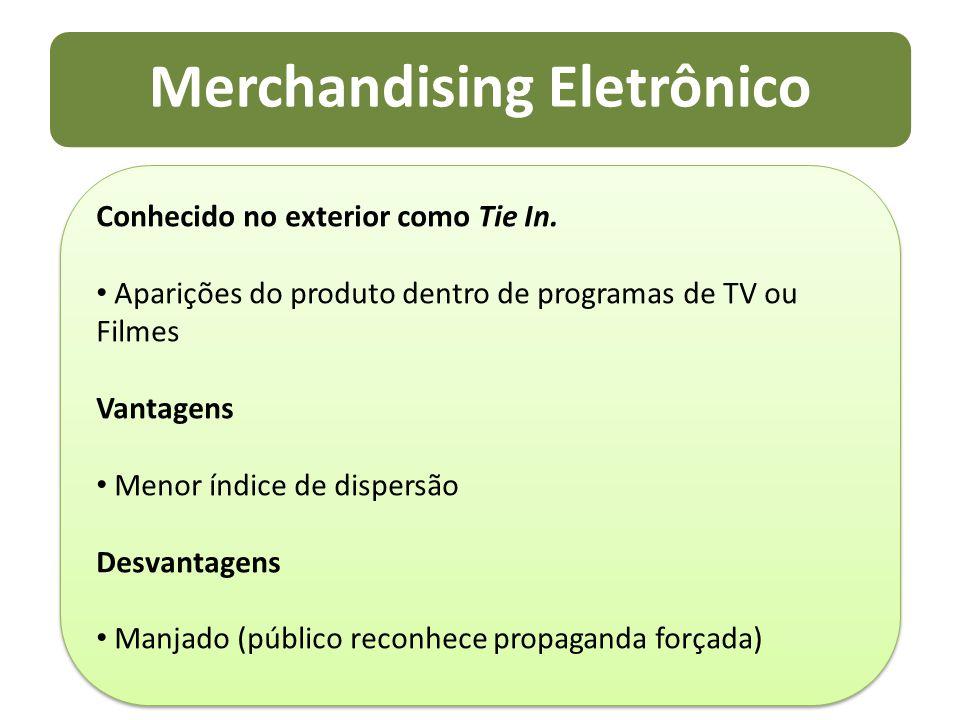 Merchandising Eletrônico Conhecido no exterior como Tie In. Aparições do produto dentro de programas de TV ou Filmes Vantagens Menor índice de dispers