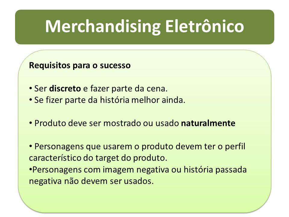 Merchandising Eletrônico Requisitos para o sucesso Ser discreto e fazer parte da cena. Se fizer parte da história melhor ainda. Produto deve ser mostr
