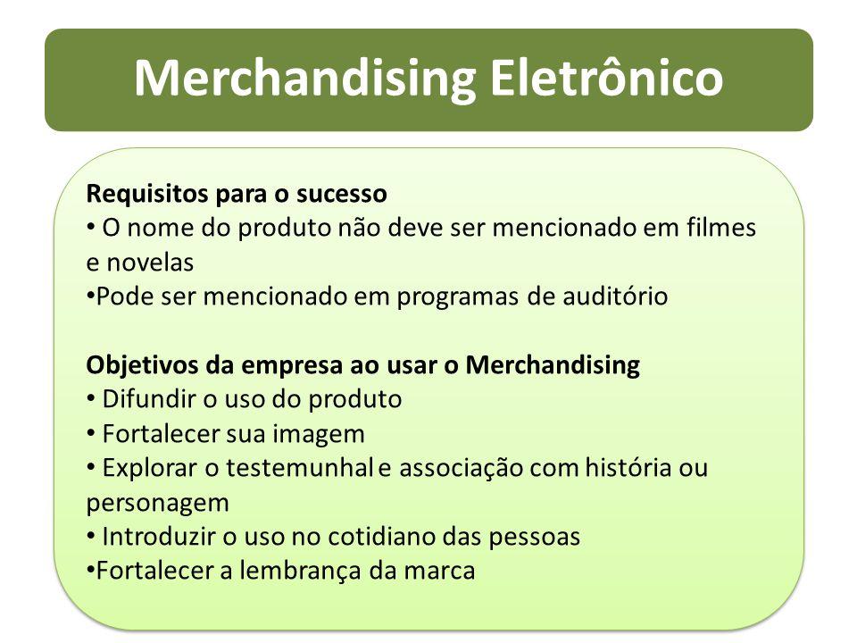 Merchandising Eletrônico Requisitos para o sucesso O nome do produto não deve ser mencionado em filmes e novelas Pode ser mencionado em programas de a