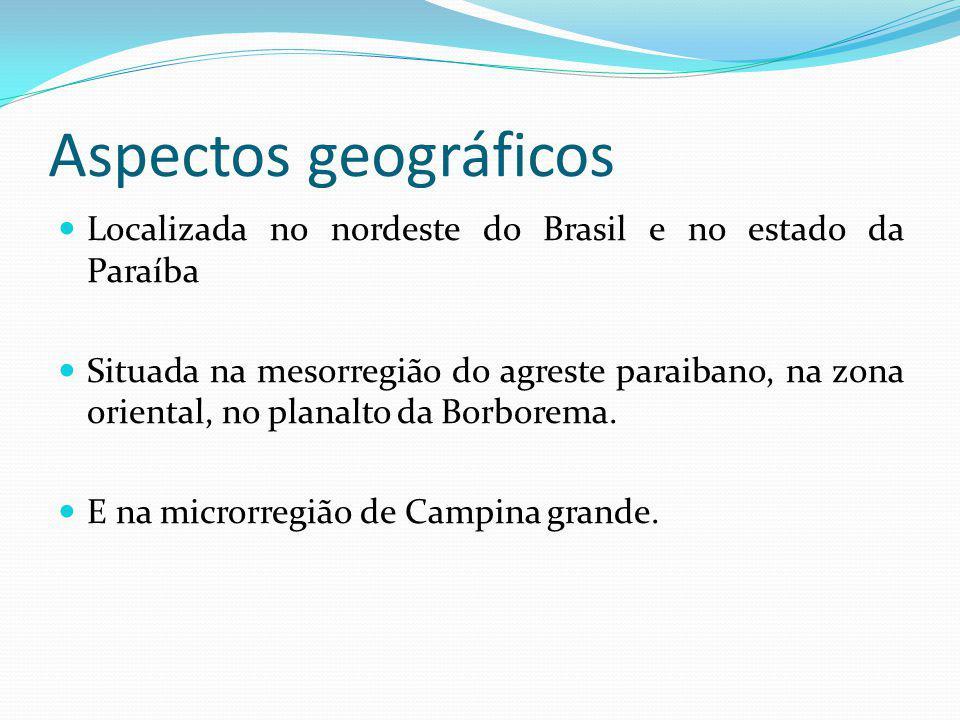 Aspectos geográficos Localizada no nordeste do Brasil e no estado da Paraíba Situada na mesorregião do agreste paraibano, na zona oriental, no planalt