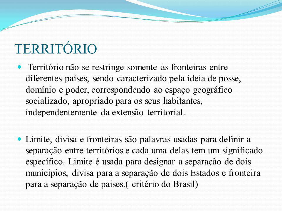 TERRITÓRIO Território não se restringe somente às fronteiras entre diferentes países, sendo caracterizado pela ideia de posse, domínio e poder, corres