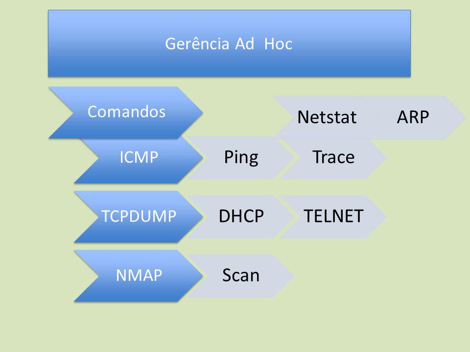 Gerência Ad Hoc ICMP PingTrace TCPDUMP DHCPTELNET NMAP Scan NetstatARP Comandos