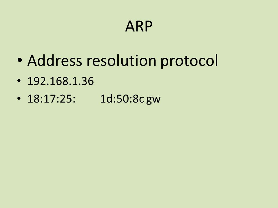 ARP Address resolution protocol 192.168.1.36 18:17:25: 1d:50:8c gw