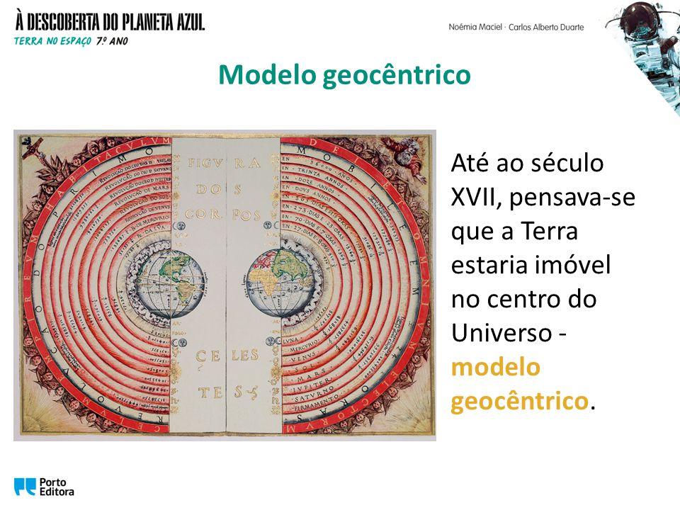 Até ao século XVII, pensava-se que a Terra estaria imóvel no centro do Universo - modelo geocêntrico.
