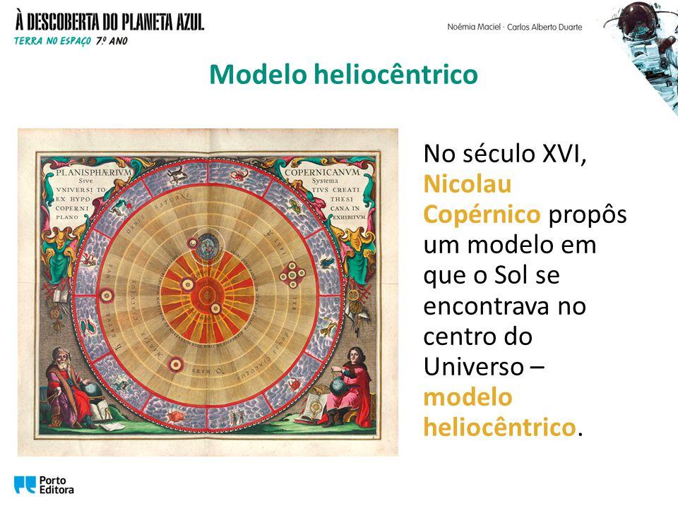 No século XVI, Nicolau Copérnico propôs um modelo em que o Sol se encontrava no centro do Universo – modelo heliocêntrico.