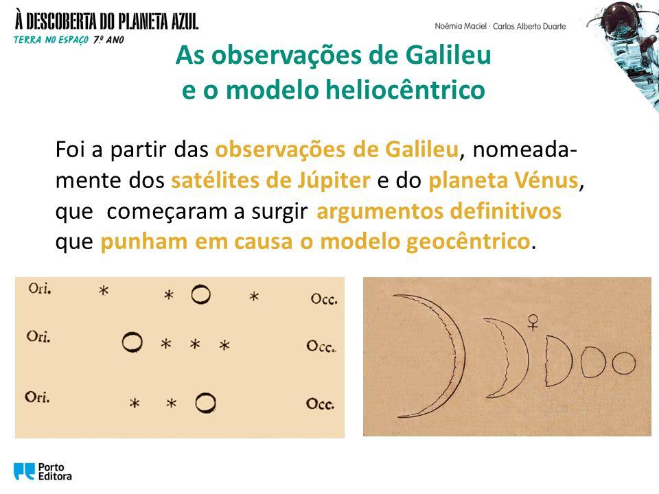 Foi a partir das observações de Galileu, nomeada- mente dos satélites de Júpiter e do planeta Vénus, que começaram a surgir argumentos definitivos que punham em causa o modelo geocêntrico.