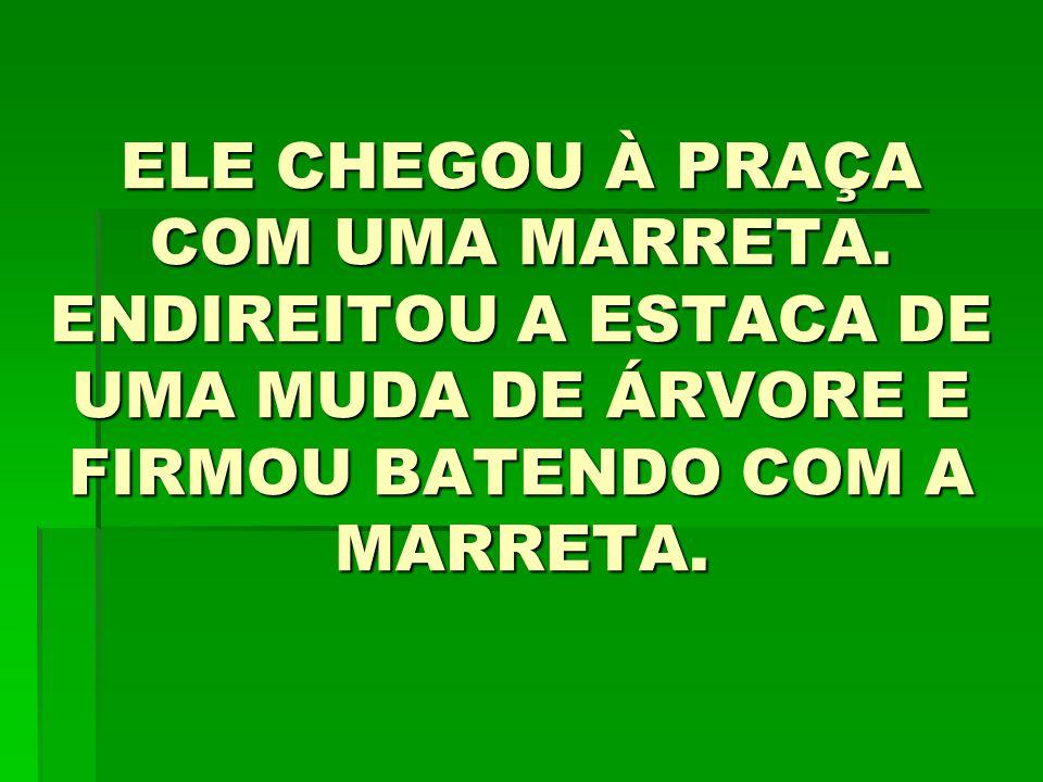 ELE CHEGOU À PRAÇA COM UMA MARRETA.