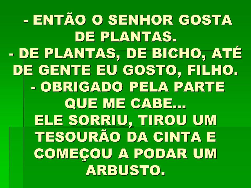 - ENTÃO O SENHOR GOSTA DE PLANTAS.- DE PLANTAS, DE BICHO, ATÉ DE GENTE EU GOSTO, FILHO.