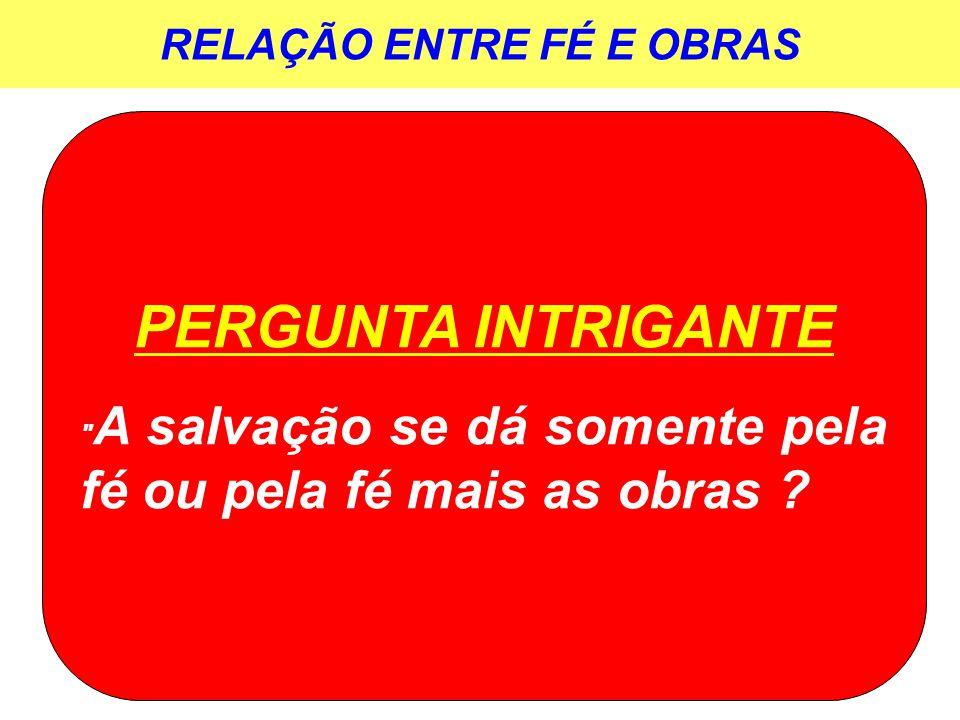 RELAÇÃO ENTRE FÉ E OBRAS PERGUNTA INTRIGANTE
