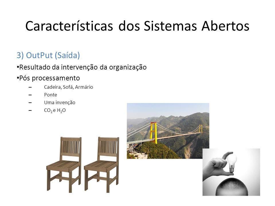 Características dos Sistemas Abertos 3) OutPut (Saída) Resultado da intervenção da organização Pós processamento – Cadeira, Sofá, Armário – Ponte – Um