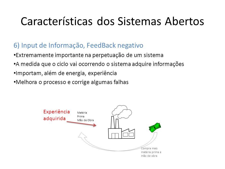 Características dos Sistemas Abertos 6) Input de Informação, FeedBack negativo Extremamente importante na perpetuação de um sistema A medida que o cic