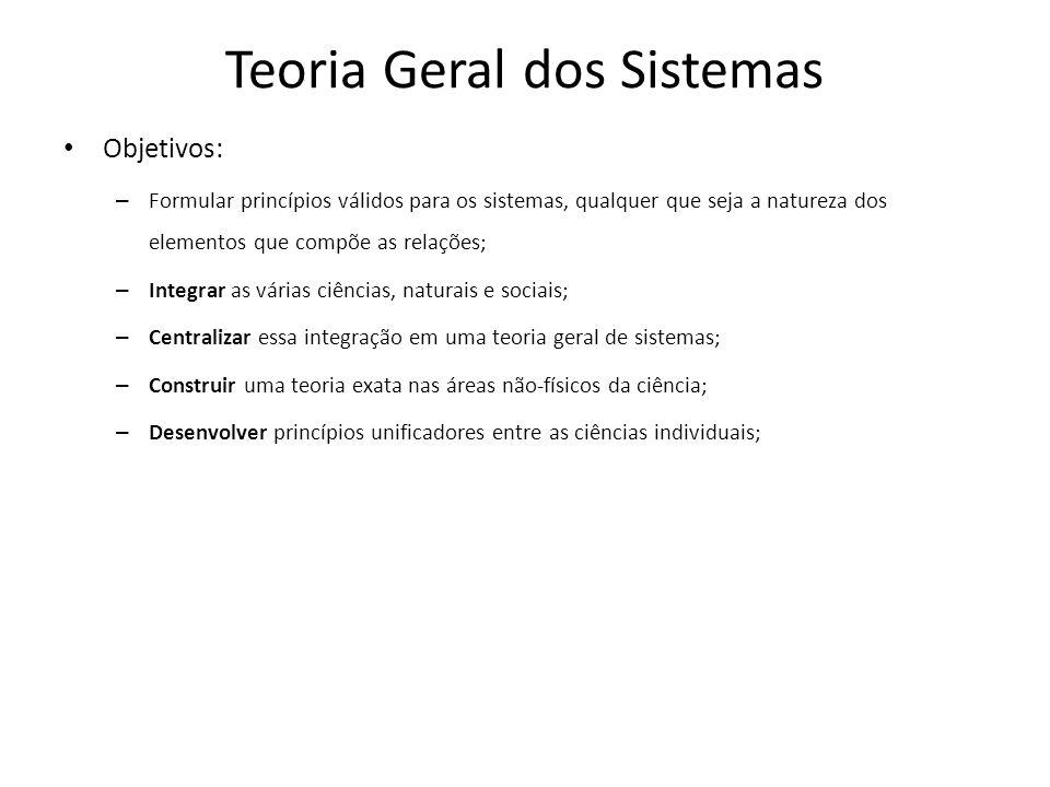 Teoria Geral dos Sistemas Objetivos: – Formular princípios válidos para os sistemas, qualquer que seja a natureza dos elementos que compõe as relações