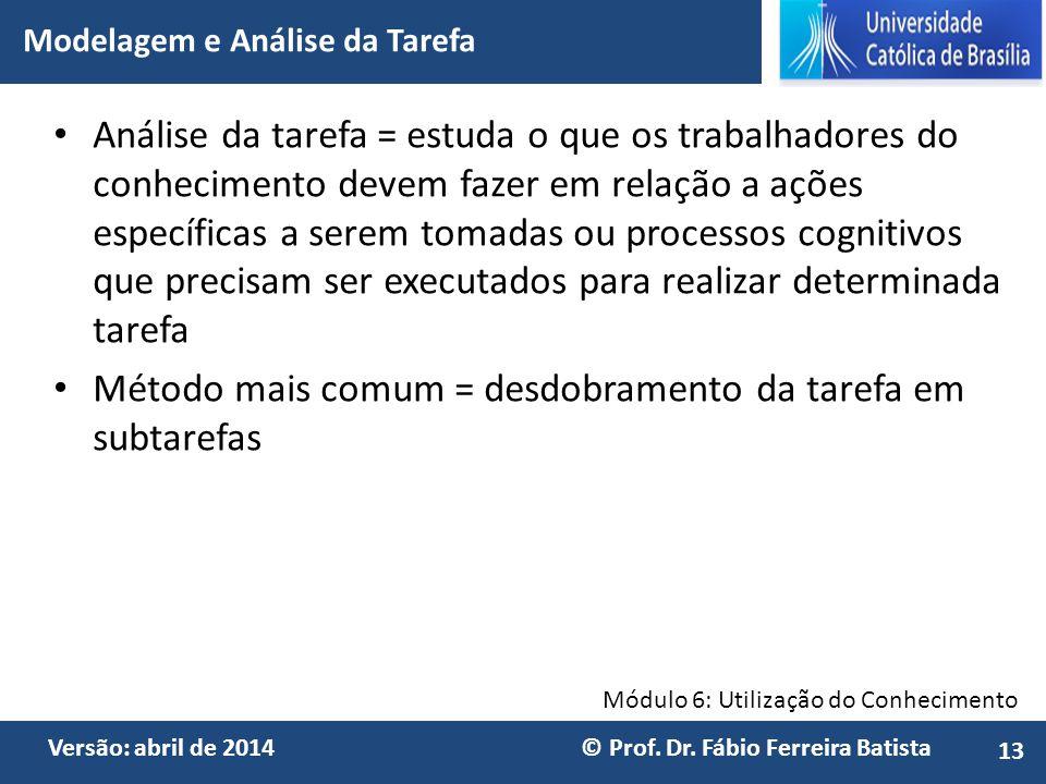 Módulo 6: Utilização do Conhecimento Versão: abril de 2014 © Prof. Dr. Fábio Ferreira Batista Análise da tarefa = estuda o que os trabalhadores do con