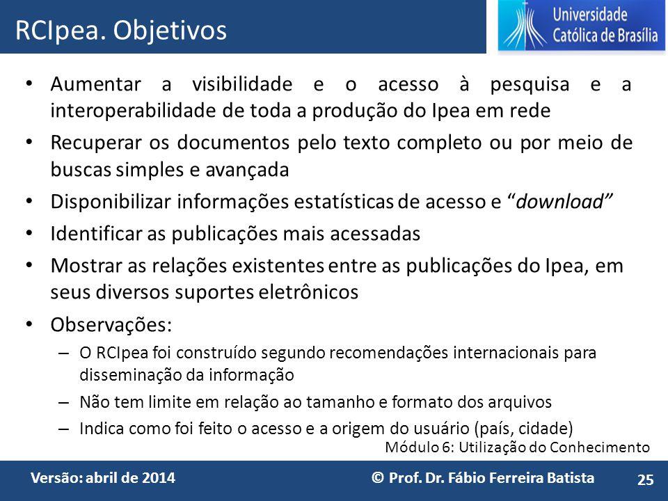 Módulo 6: Utilização do Conhecimento Versão: abril de 2014 © Prof. Dr. Fábio Ferreira Batista Aumentar a visibilidade e o acesso à pesquisa e a intero