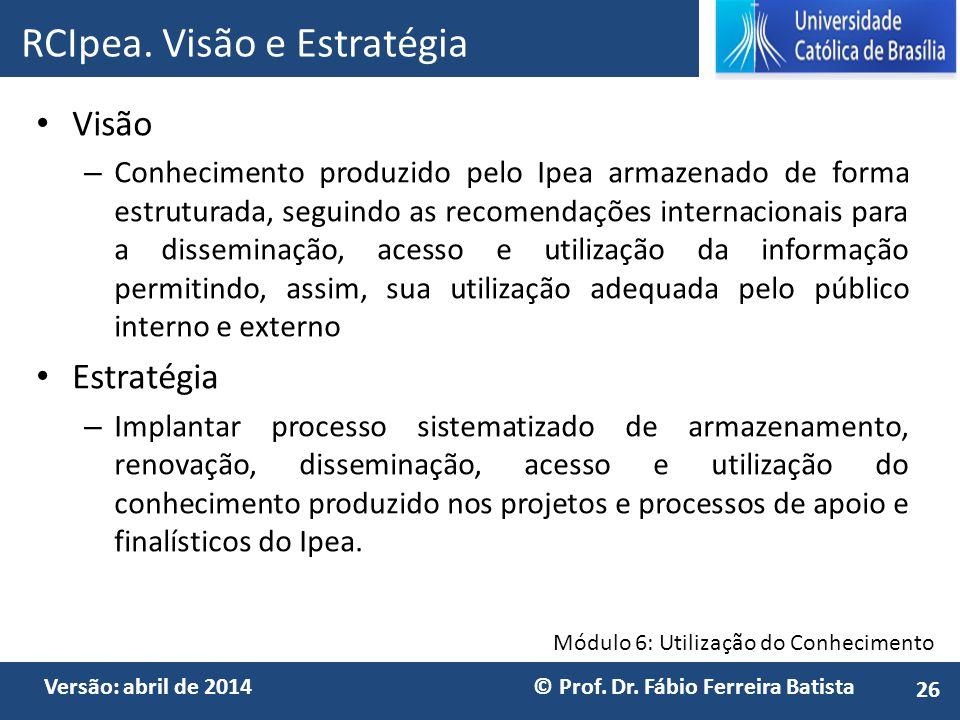 Módulo 6: Utilização do Conhecimento Versão: abril de 2014 © Prof. Dr. Fábio Ferreira Batista Visão – Conhecimento produzido pelo Ipea armazenado de f