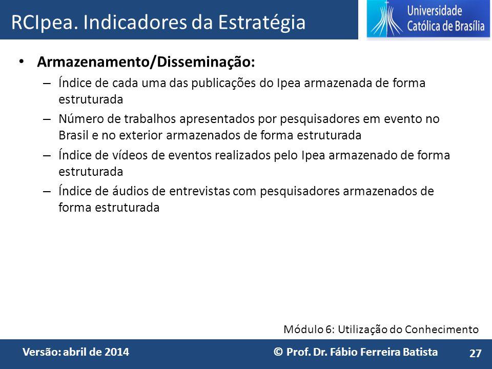 Módulo 6: Utilização do Conhecimento Versão: abril de 2014 © Prof. Dr. Fábio Ferreira Batista Armazenamento/Disseminação: – Índice de cada uma das pub
