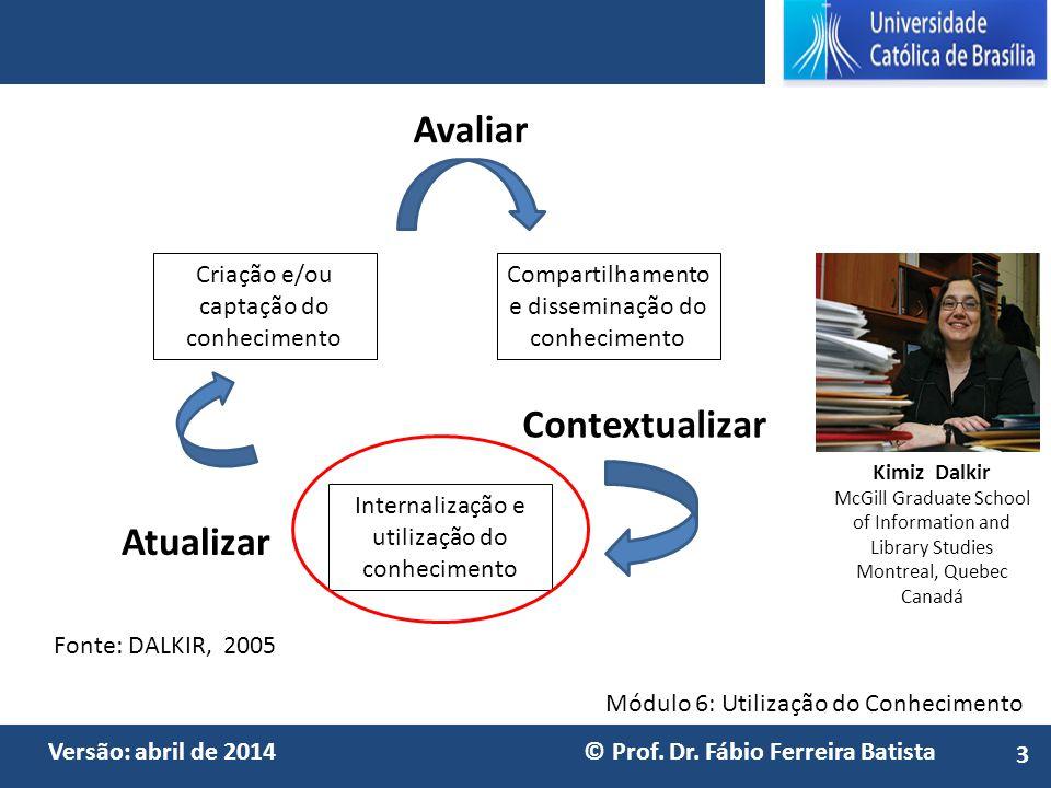 Módulo 6: Utilização do Conhecimento Versão: abril de 2014 © Prof. Dr. Fábio Ferreira Batista Avaliar Contextualizar Atualizar Compartilhamento e diss