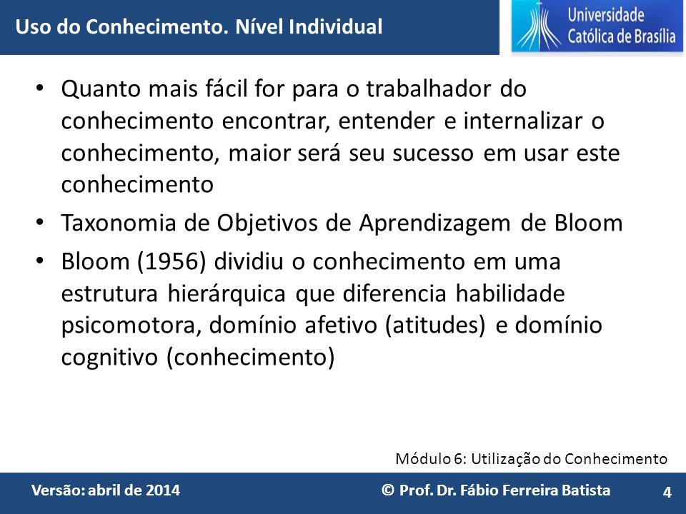 Módulo 6: Utilização do Conhecimento Versão: abril de 2014 © Prof. Dr. Fábio Ferreira Batista Quanto mais fácil for para o trabalhador do conhecimento