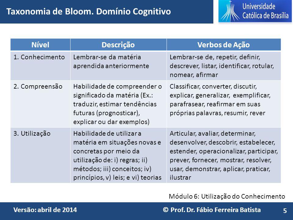 Módulo 6: Utilização do Conhecimento Versão: abril de 2014 © Prof. Dr. Fábio Ferreira Batista NívelDescriçãoVerbos de Ação 1. ConhecimentoLembrar-se d