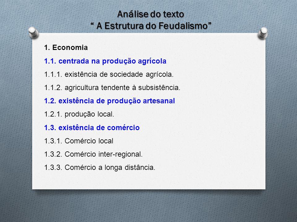 """Análise do texto """" A Estrutura do Feudalismo"""" 1. Economia 1.1. centrada na produção agrícola 1.1.1. existência de sociedade agrícola. 1.1.2. agricultu"""