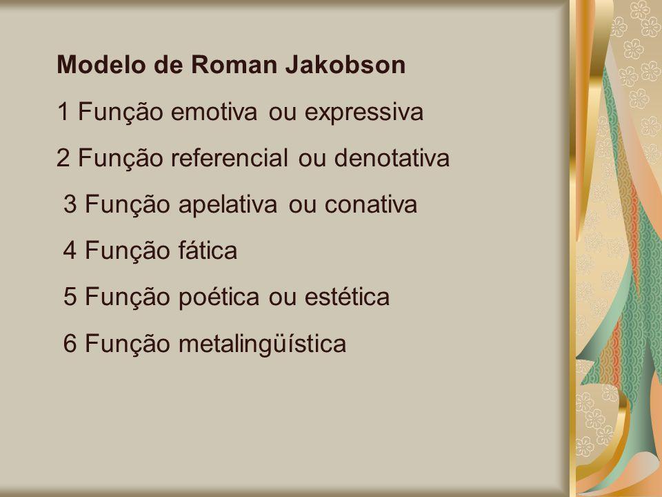 Modelo de Roman Jakobson 1 Função emotiva ou expressiva 2 Função referencial ou denotativa 3 Função apelativa ou conativa 4 Função fática 5 Função poé