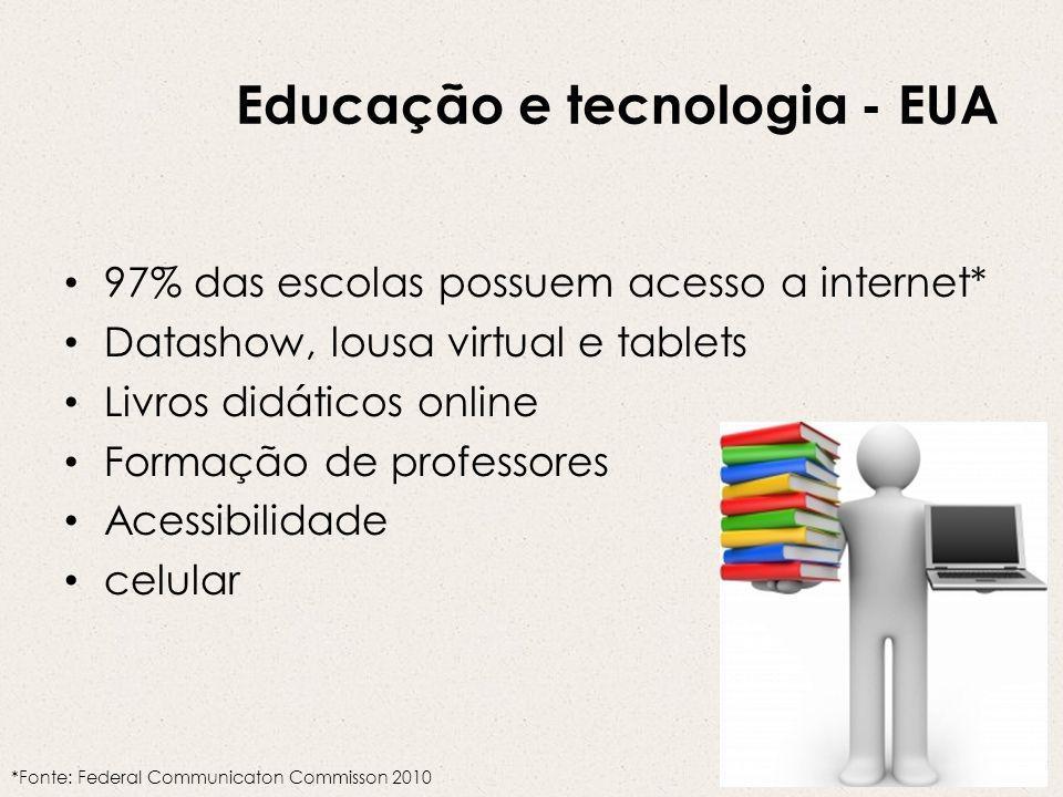 Educação e tecnologia - EUA 97% das escolas possuem acesso a internet* Datashow, lousa virtual e tablets Livros didáticos online Formação de professores Acessibilidade celular *Fonte: Federal Communicaton Commisson 2010