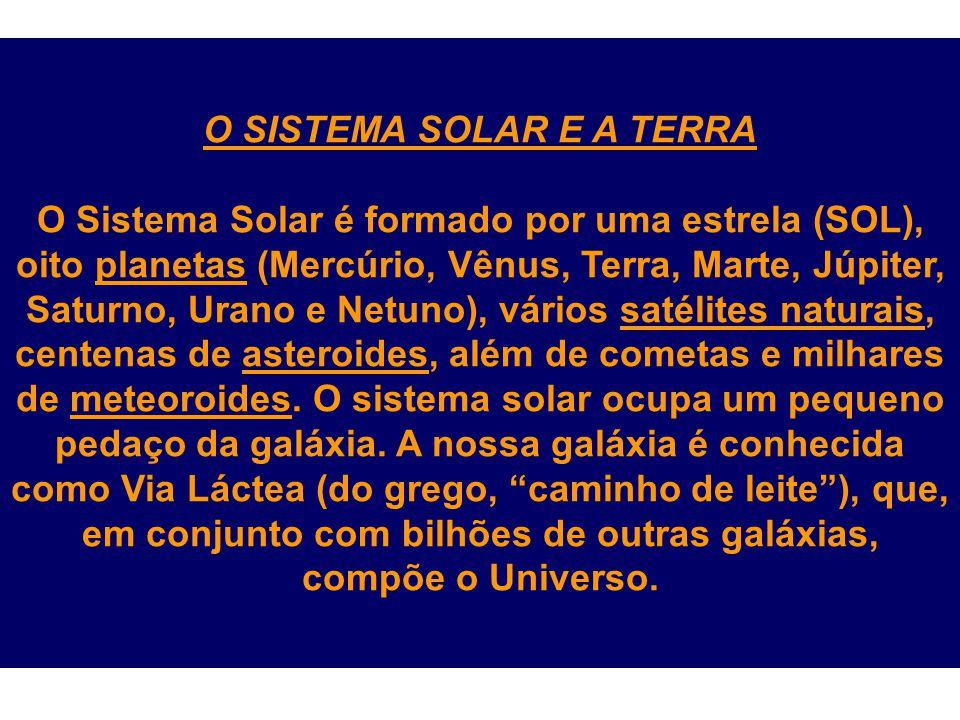 O SISTEMA SOLAR E A TERRA O Sistema Solar é formado por uma estrela (SOL), oito planetas (Mercúrio, Vênus, Terra, Marte, Júpiter, Saturno, Urano e Net