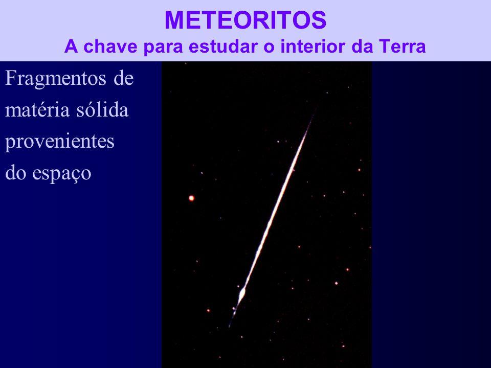 METEORITOS A chave para estudar o interior da Terra Fragmentos de matéria sólida provenientes do espaço