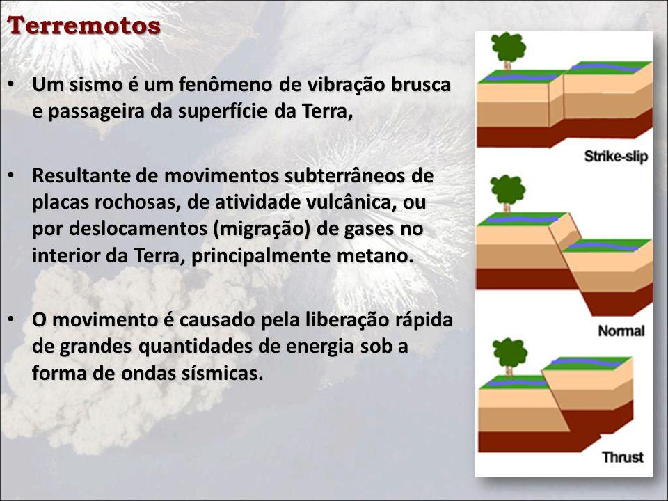 Terremotos Um sismo é um fenômeno de vibração brusca e passageira da superfície da Terra, Um sismo é um fenômeno de vibração brusca e passageira da superfície da Terra, Resultante de movimentos subterrâneos de placas rochosas, de atividade vulcânica, ou por deslocamentos (migração) de gases no interior da Terra, principalmente metano.