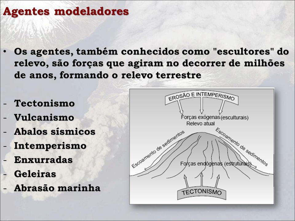 Agentes modeladores Os agentes, também conhecidos como escultores do relevo, são forças que agiram no decorrer de milhões de anos, formando o relevo terrestre Os agentes, também conhecidos como escultores do relevo, são forças que agiram no decorrer de milhões de anos, formando o relevo terrestre - Tectonismo - Vulcanismo - Abalos sísmicos - Intemperismo - Enxurradas - Geleiras - Abrasão marinha