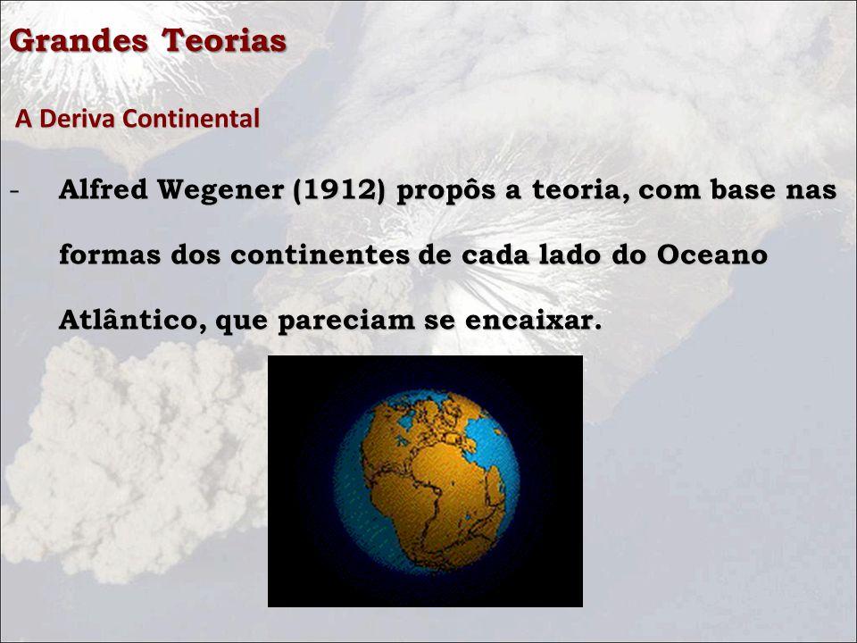 Grandes Teorias A Deriva Continental A Deriva Continental - Alfred Wegener (1912) propôs a teoria, com base nas formas dos continentes de cada lado do Oceano Atlântico, que pareciam se encaixar.